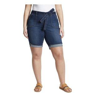 Gloria Vanderbilt Denim Belted Bermuda Shorts